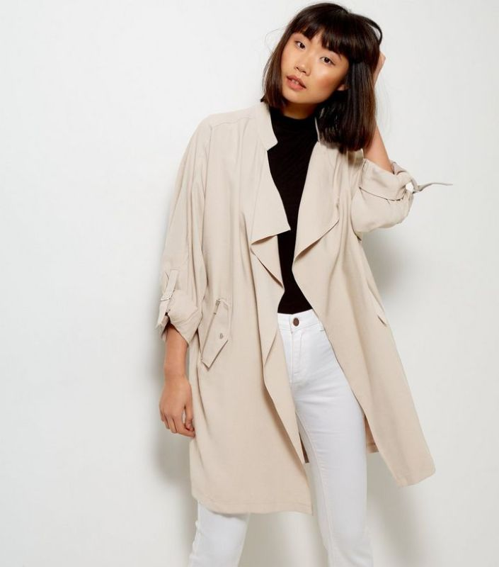 Veste longue beige waterfall New Look