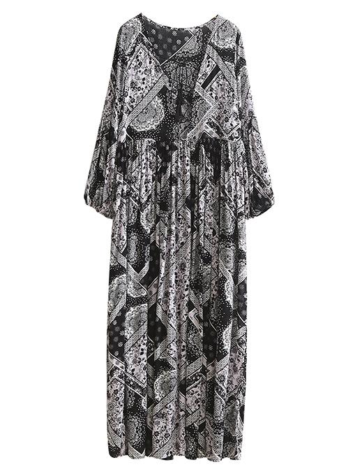 Robe plissée imprimé tribal Shein
