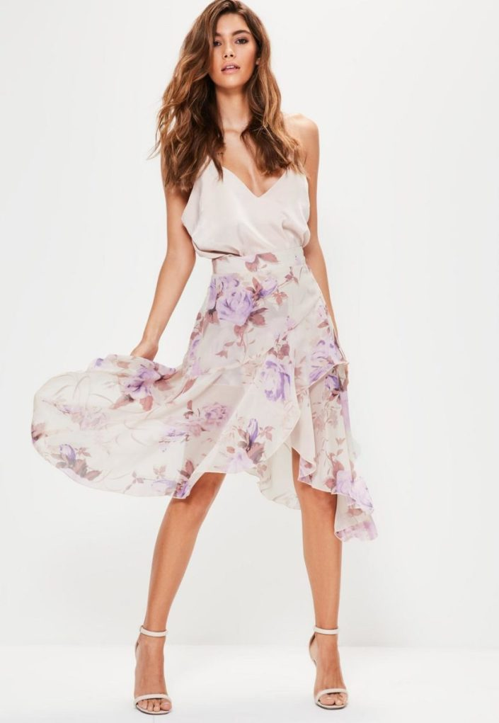 Jupe midi à volants MissGuided