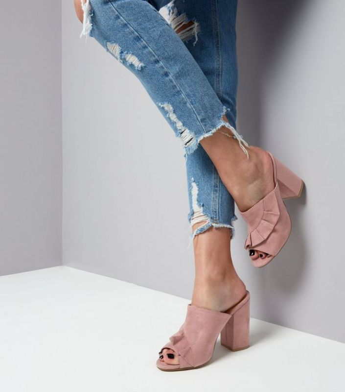 Mule en suédine à volants MissGuided