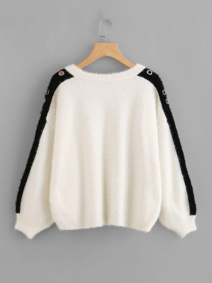 Pullover doudou contrasté