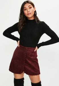 jupe-bordeaux-en-sudine-coutures-apparentes