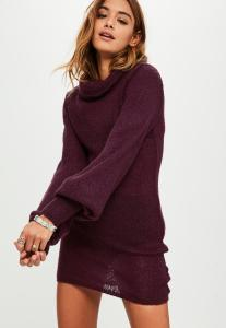 robe-pull-bordeaux-col-roul-et-manches-ballon-promotions-missguided-sélection-monsieurmada.me-magazine-tendance-lestendancesdelilou