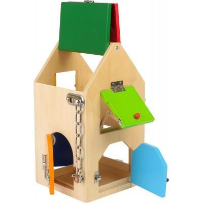 casa de cerraduras y pestillos juguete metodo montessori manipulacion niños