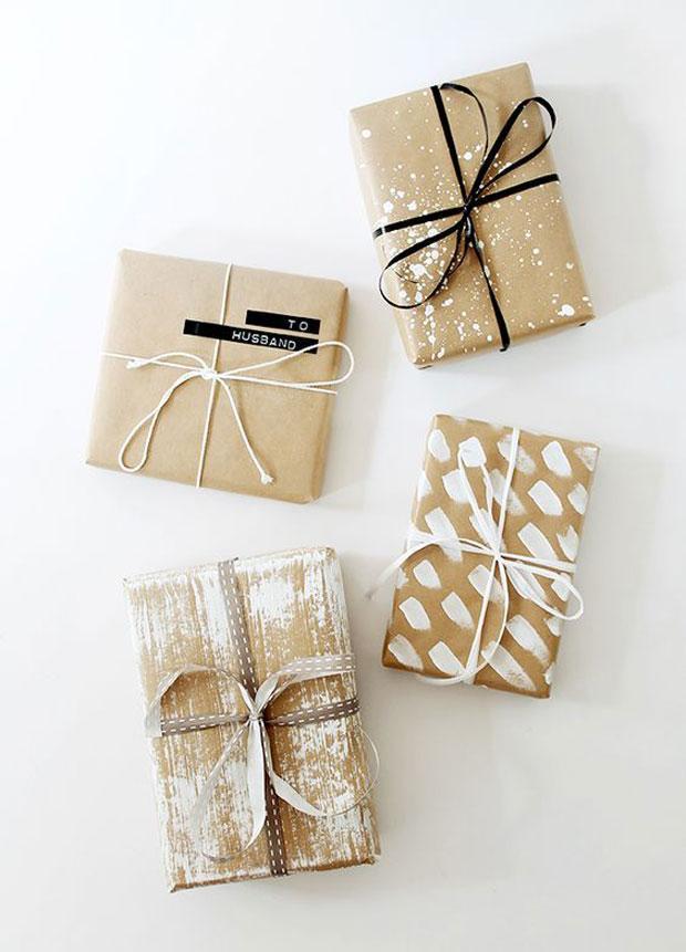 envolver regalos papel kraft pintura