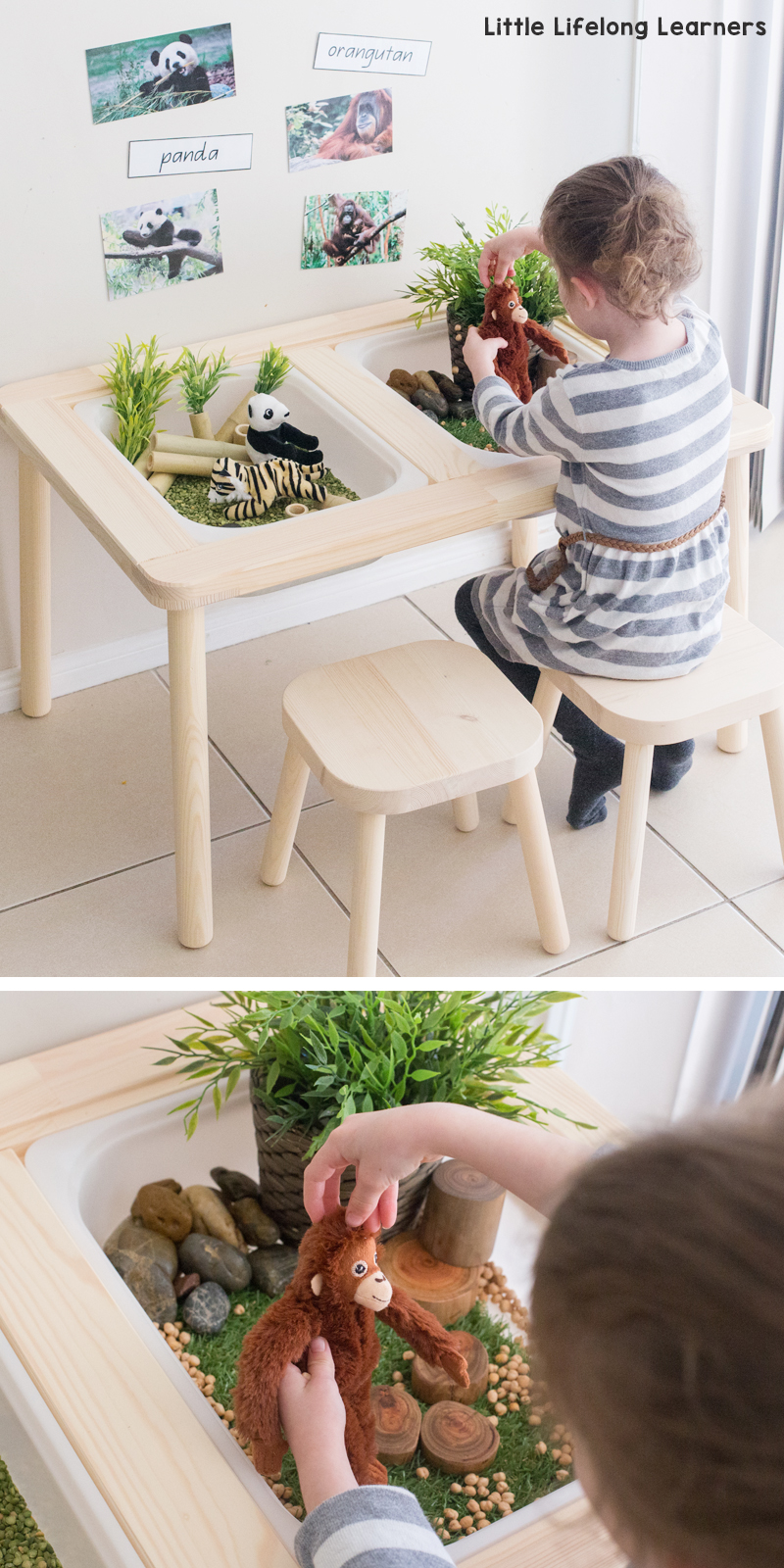 mesa de experimentacion - actividades estimulacion sensorial para niños - sensory play activities for children