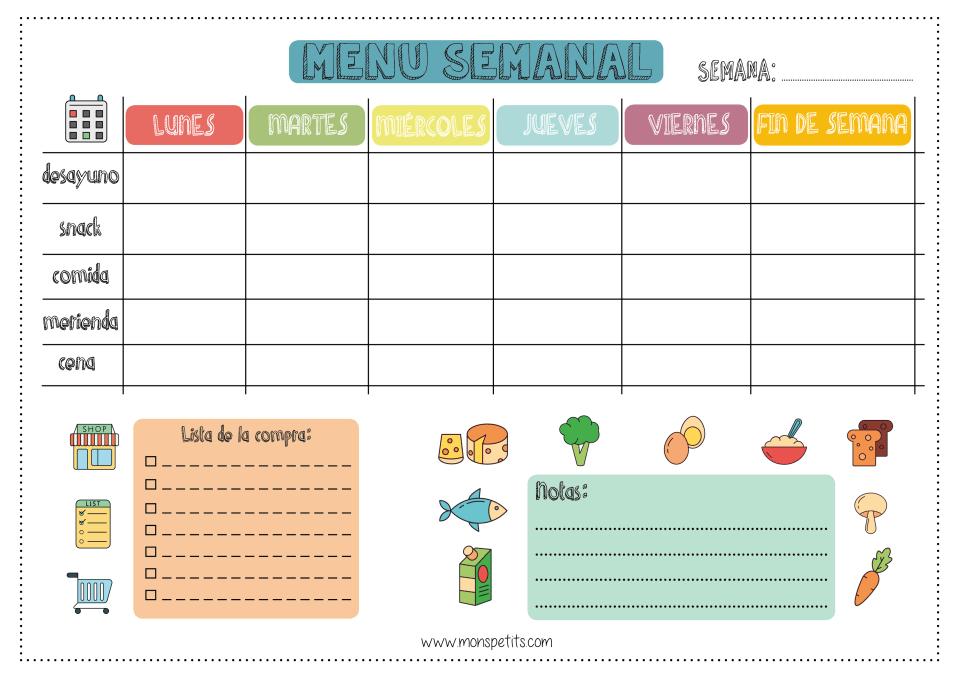 Planificador Menu Setmanal - By Monspetits