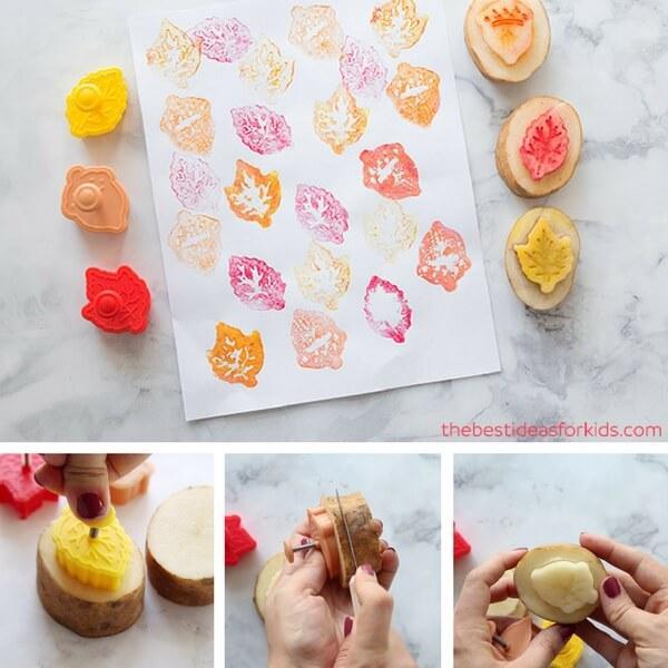 actividades de otoño para niños - sellos de hojas con patatas - potato stamps