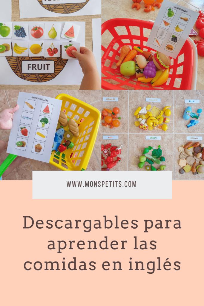 Descargables para aprender las comidas en inglés - Printables to learn foods in English