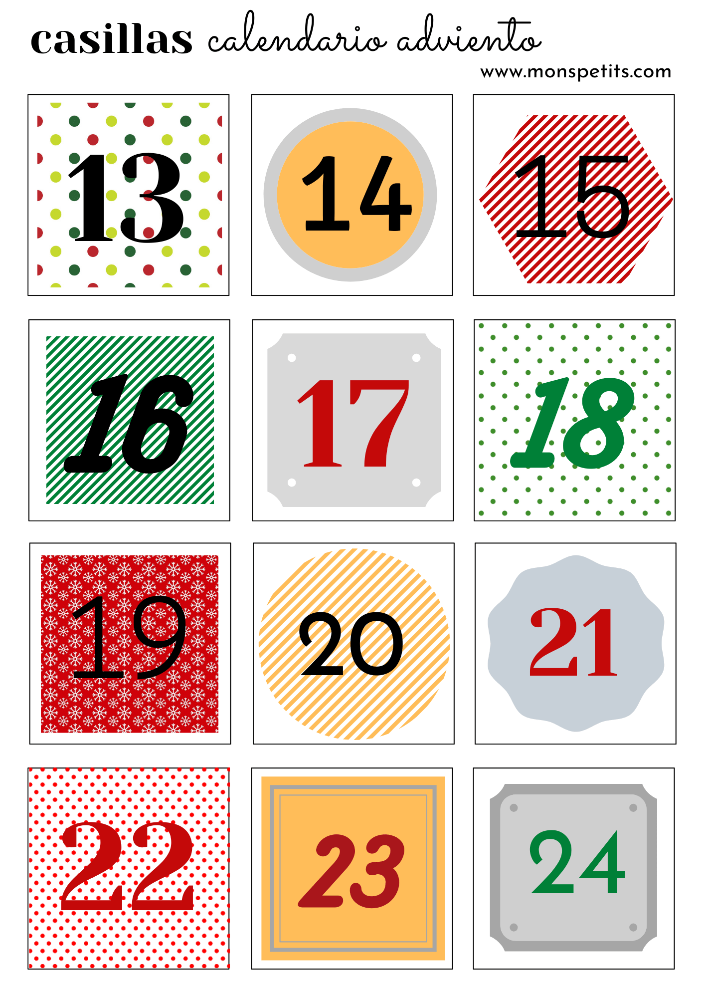 Casillas para Calendario Adviento - Numeros - Descargable imprimible gratis en pdf 2