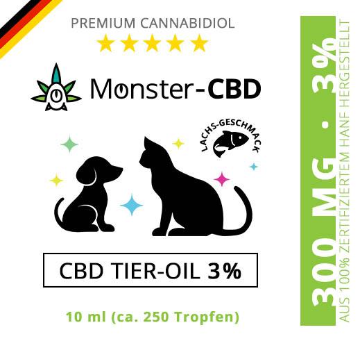 CBD Tier-Oil • 3% CBD Premium Öl für Hunde & Katzen ab 1kg