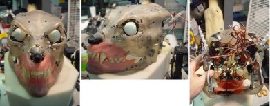 The mechanical understructure of a Lycan suit's head.