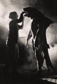 Crash McCreery and Brian Steele as the Monster on set.