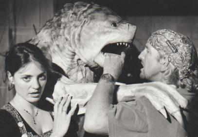 Beth Hathaway and Crash McCreery support the Monster on set.