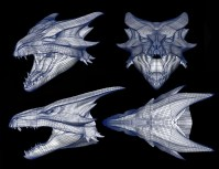 Wireframe for the Female Dragon's head.