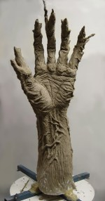 Hand sculpture underway.
