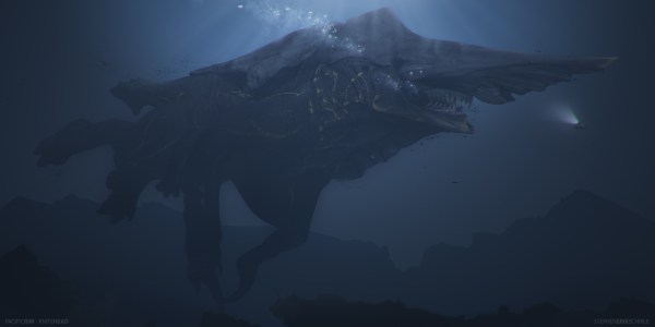 Concept art of Knifehead swimming by Stephen Erik Schirle.