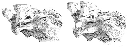 Otachi head concepts by Guy Davis. The tendons were removed from the final design.