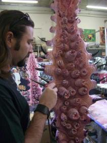 Mike McCarty paints a practical tentacle.