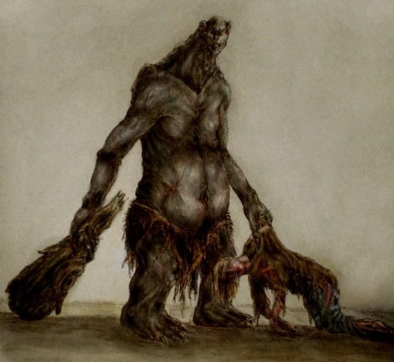 Concept art di un troll di montagna