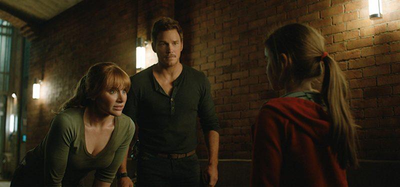 Owen e Claire con Maisie in Fallen Kingdom