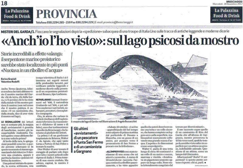 Bennie Mostro del Lago di Garda su BresciaOggi