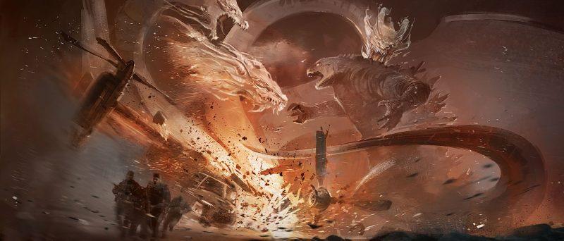 Concept art primo match di Godzilla contro Ghidorah