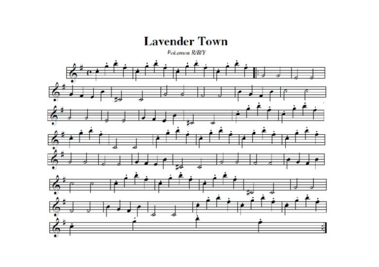 Spartito Musica Lavandonia Pokémon