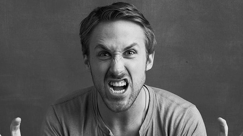 Ryan Gosling foto attore arrabbiato