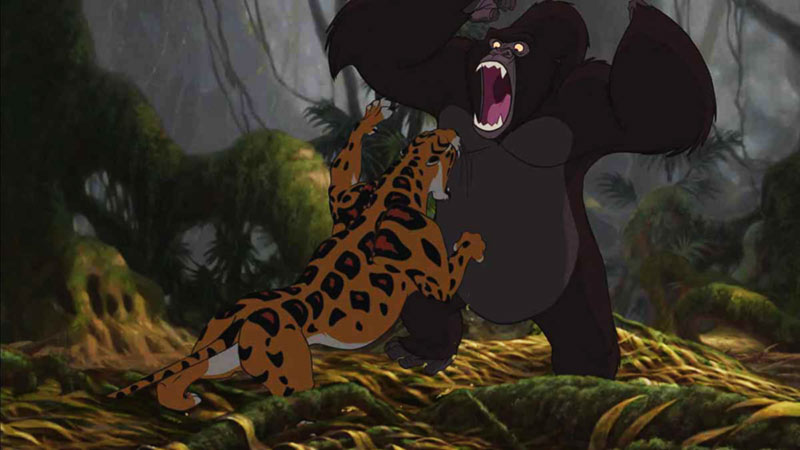Tarzan Sabor vs Kerchak disney