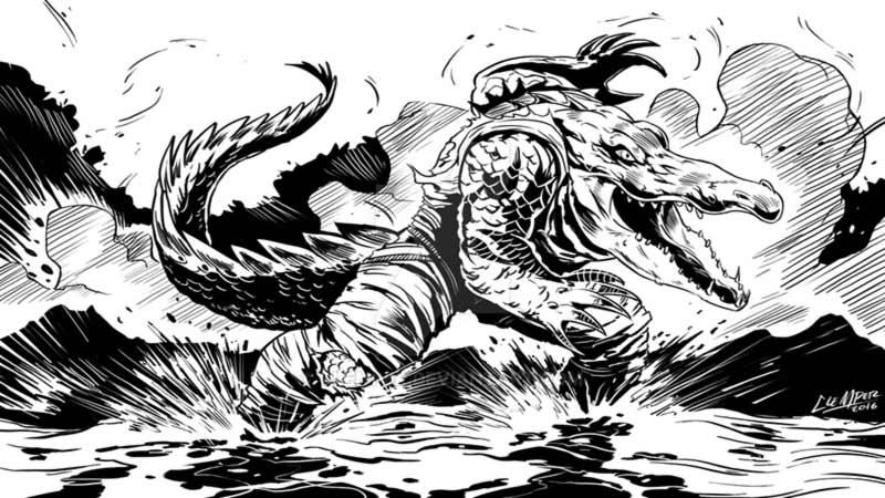 Uomo coccodrillo delta del po veneto
