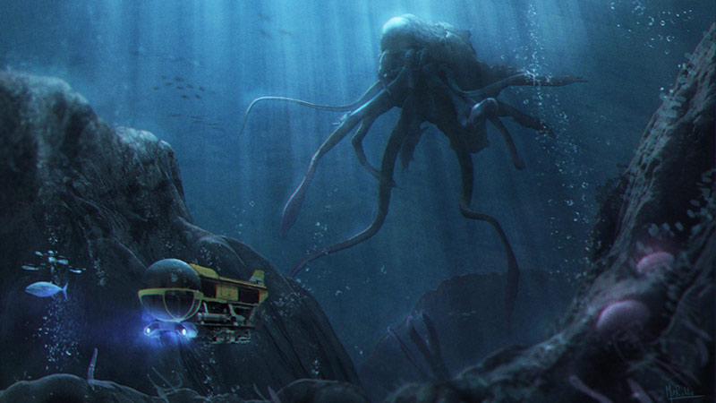Piovra gigante artwork mostri marini