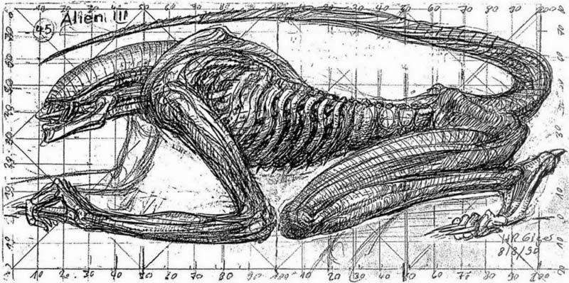 Alien 3 bozza xenomorfo