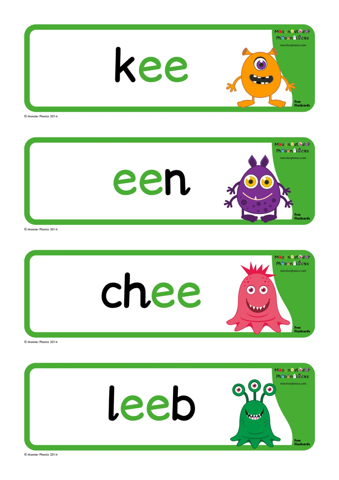 Nonsense Ee Words Free Flashcards