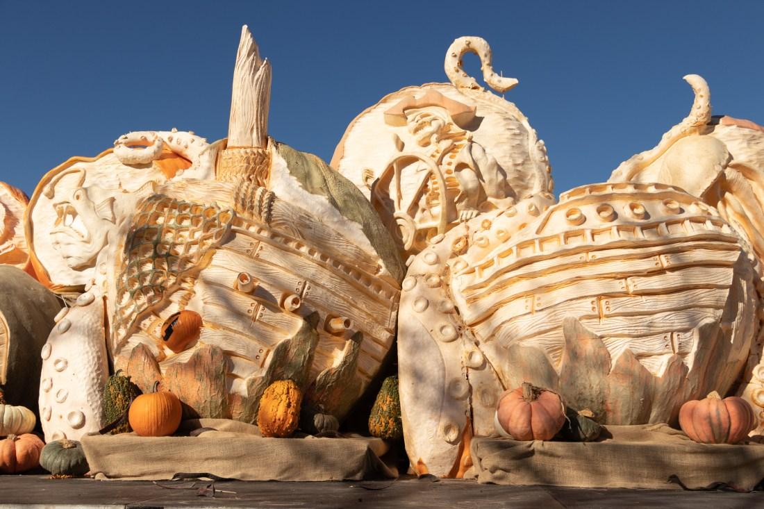Massive 3D pumpkin carving artwork with incredible detail