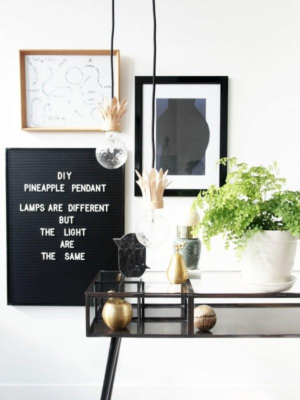 DIY Pineapple Pendant Lamp