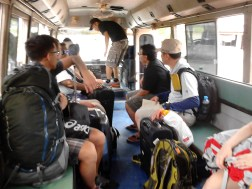 We took the shuttle bus from Vang Vieng Bus Station to heart of Vang Vieng.