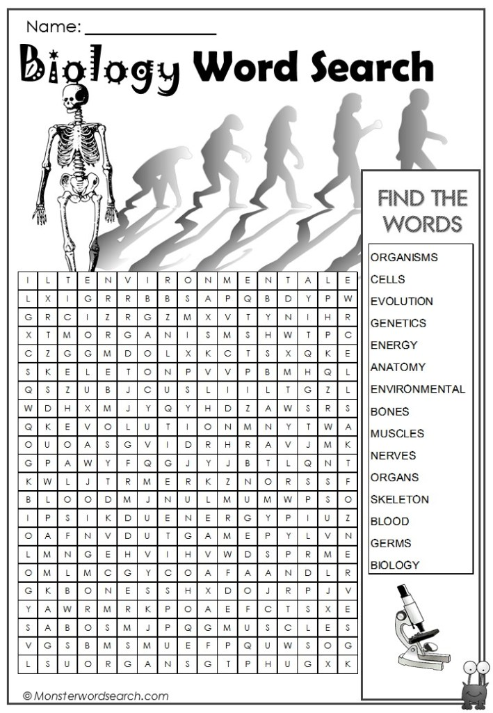 Biology Word Search - Monster Word Search Monster Word Search