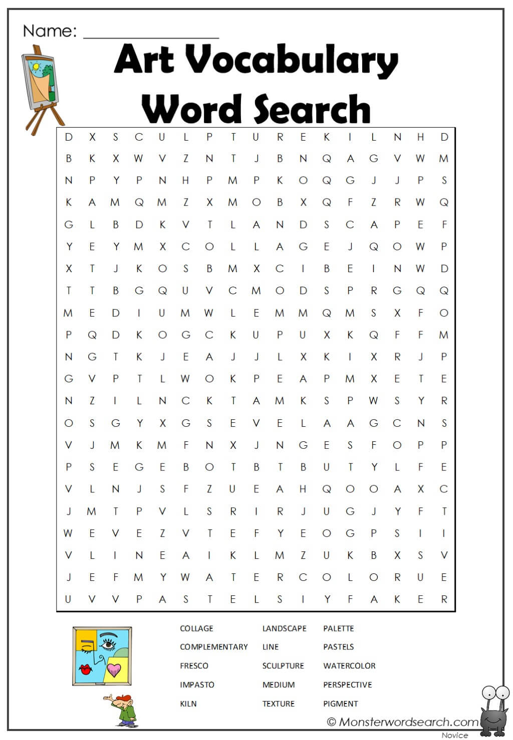 Art Vocabulary Word Search Monster Word Search