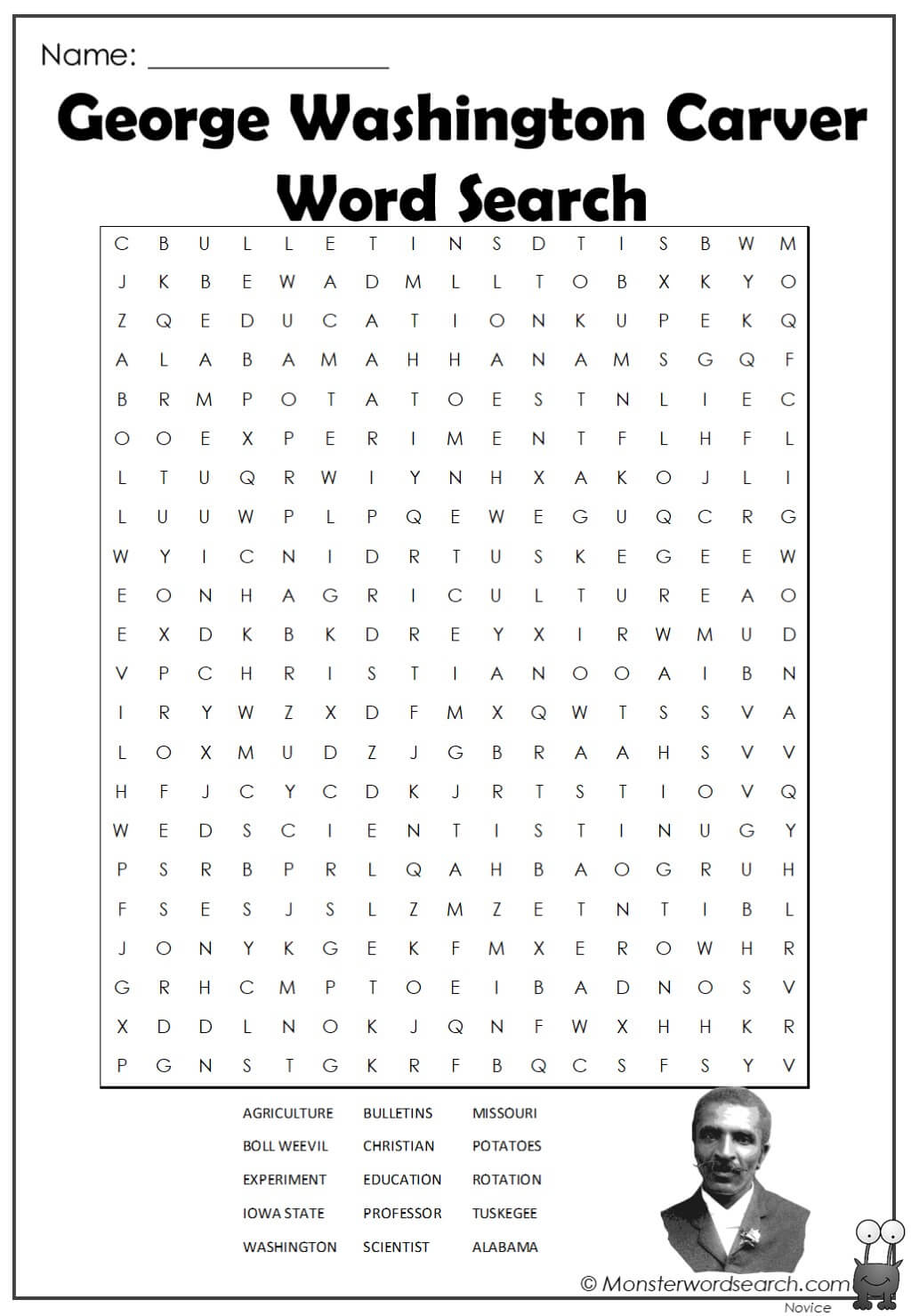 George Washington Carver Word Search Monster Word Search
