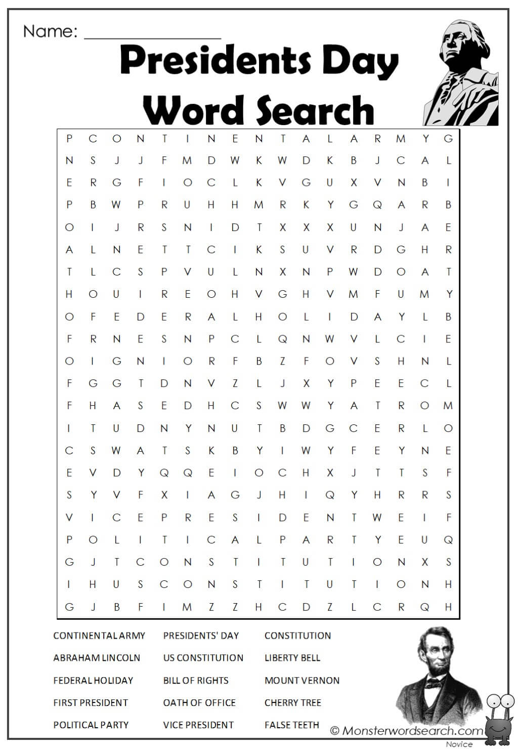 Presidents Day Word Search 1