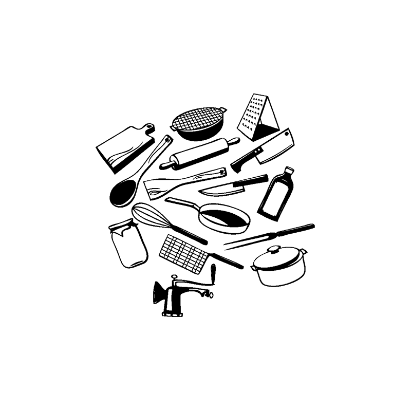 sticker ustensiles pour cuisiner deco