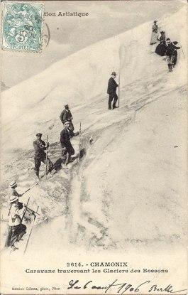 Caravane traversant les Glaciers des Bossons