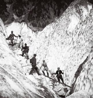 Cordée sur le glacier des Bossons