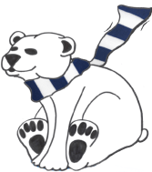 Polar bear graphic with Nittany Lion scarf