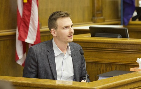 Former National Right to Work Committee staffer Andrew O'Neill testifies during the second day of the political practice lawsuit against Bozeman Republican Rep. Art Wittich. Photo by Kimberly Reed.