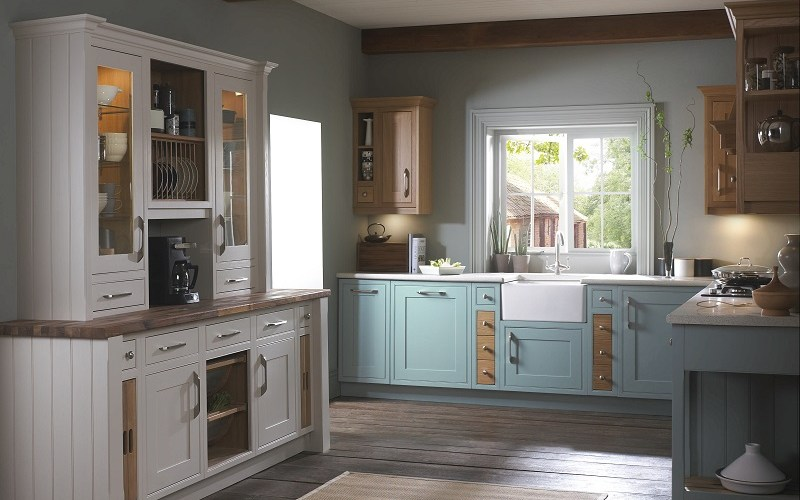 shaker style kitchen, mereway english revival, cobalt blue
