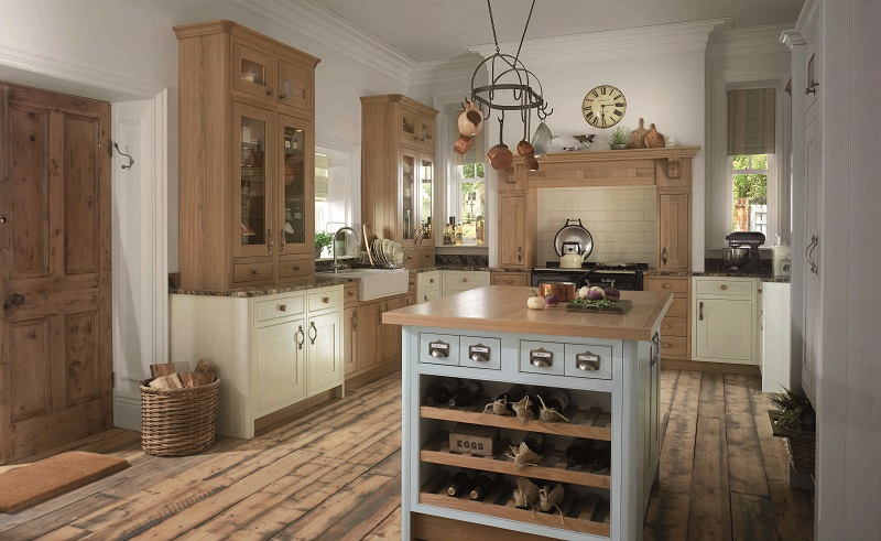 shaker style kitchen, mereway english revival, pantry cream, dainty blue
