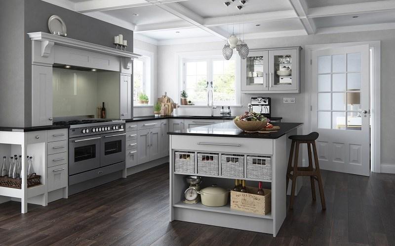 traditional kitchen, mereway kitchens, virginia light grey