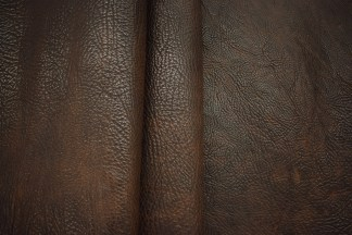 brown leather, shrunken bison, shrunken leather, boot leather